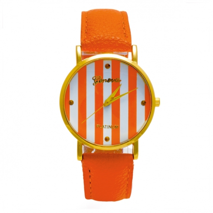 Montre orange Rayée
