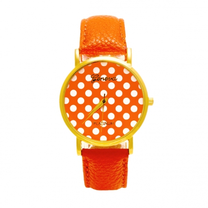 Montre orange Pois