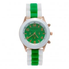 Montre silicone bicolore verte et blanche