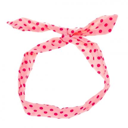 Bandeau cheveux rose à pois fushia - Bandeau Vintage