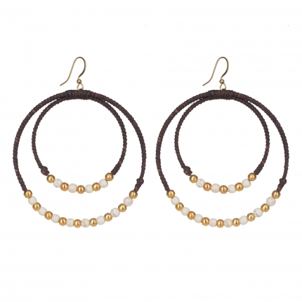Boucles d'oreilles créoles perles blanches