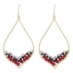 Boucles d'oreilles goutte perles rouges