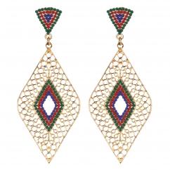 Boucles d'oreilles losanges dorées perles rouges