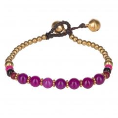 Bracelet ethnique perle aubergine - Bracelet Perle