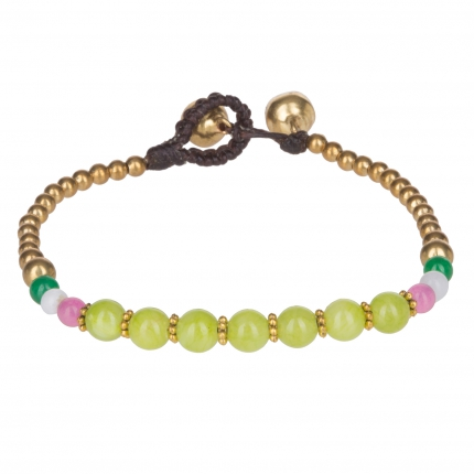Bracelet ethnique perle verte - Bracelet Perle