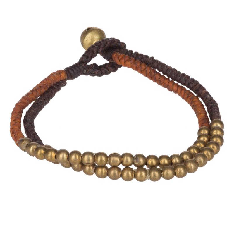 bracelet fantaisie femme double perle marron. Black Bedroom Furniture Sets. Home Design Ideas