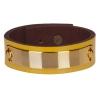 Bracelet cuir femme jaune plaque dorée  - Manchette Cuir