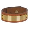 Bracelet cuir femme camel plaque dorée - Manchette Cuir
