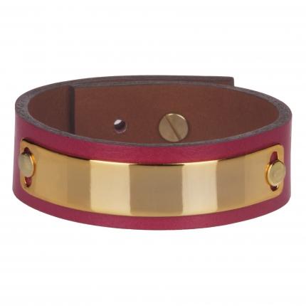 Bracelet cuir femme rose plaque dorée  - Manchette Cuir
