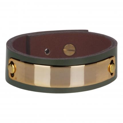 Bracelet cuir femme vert plaque dorée  - Manchette Cuir