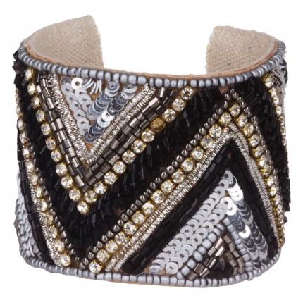 Bracelet manchette femme chevron gris - Bracelet Strass