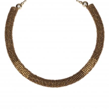 Collier ras du cou perles dorées