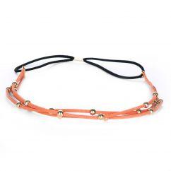 Headband suédine orange perle dorée - Headband Doré