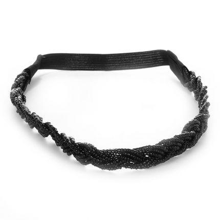 Headband mariage tressé perles noires - Headband femme