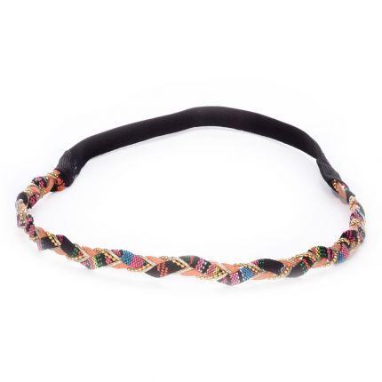 Headband tresse ethnique corail - Headband Ethnique