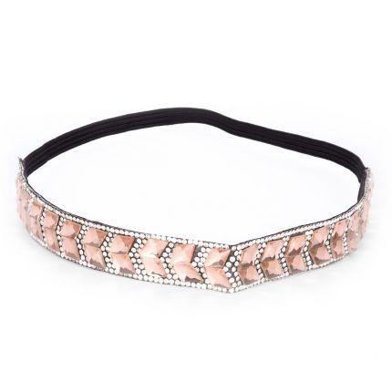 Headband mariage strass rose poudré - Headband Strass