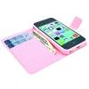 Etui portefeuille Iphone 5C Chevrons roses et bleus