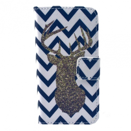 Etui portefeuille Iphone 4 / 4S Chevron Cerf
