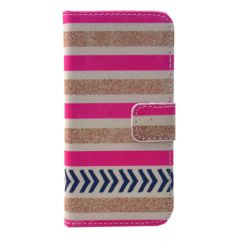 Etui portefeuille Iphone 5C Playa rayé rose et blanc