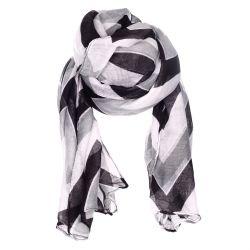 Foulard motif chevron noir et gris