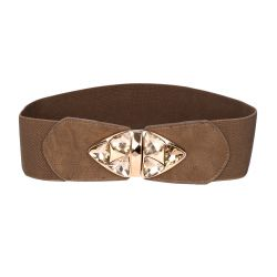Ceinture large femme taupe strass