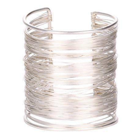 Bracelet manchette fil argenté