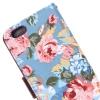 Etui portefeuille Iphone 6 Bleu imprimé Fleurs