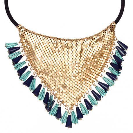 Collier plastron maille dorée perle bleu - Bijoux Femme