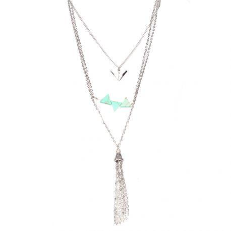Collier multirang multi-rangs charms et pompon - Bijoux Femme