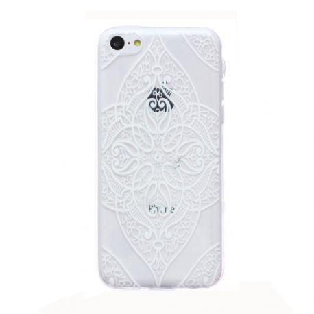 Coque Iphone 5C silicone transparente Fleurs Blanches