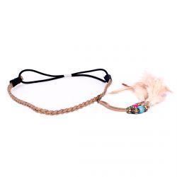 Headband tresse plume camel - Headband Plume