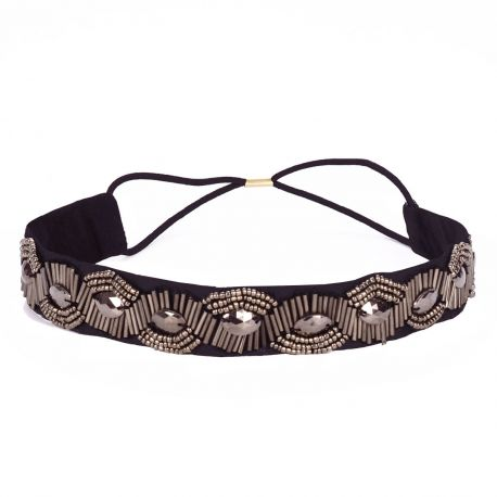 Headband perle taupe - Headband Soirée