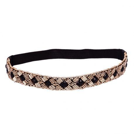 Headband perle noir et bronze - Headband Doré