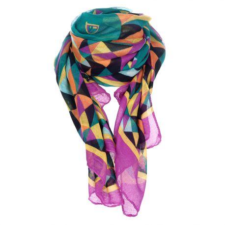 Foulard vert et violet géométrique