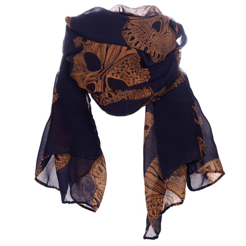 foulard femme bleu marine et camel t te de mort. Black Bedroom Furniture Sets. Home Design Ideas
