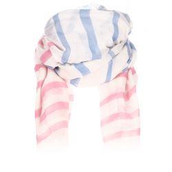 Foulard blanc rayé rose et bleu