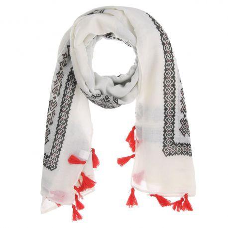 Foulard Femme Ethnique Blanc Pompon 7d88754238c