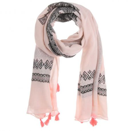 4dc671296b7d Foulard Femme Ethnique Rose clair Pompon