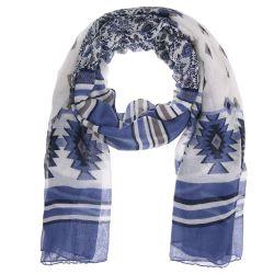 Foulard Femme Ethnique Fleurs Bleu