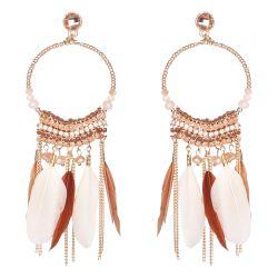 Boucle d'oreille fantaisie créole perle et plume beige