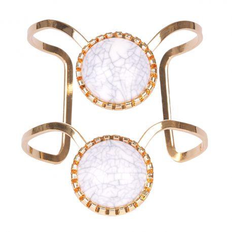 Bracelet manchette doré pierre blanche - Bracelet Doré