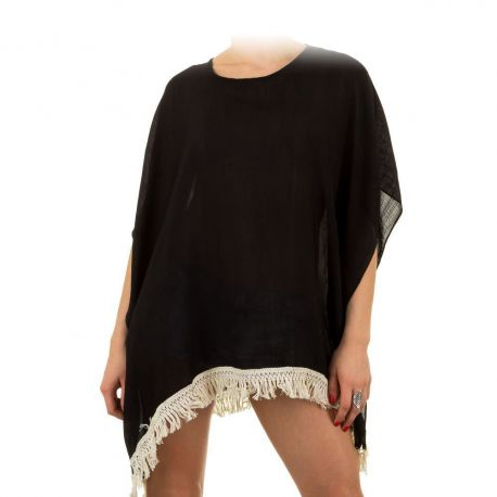 Tunique de plage noire à frange - Tunique Femme