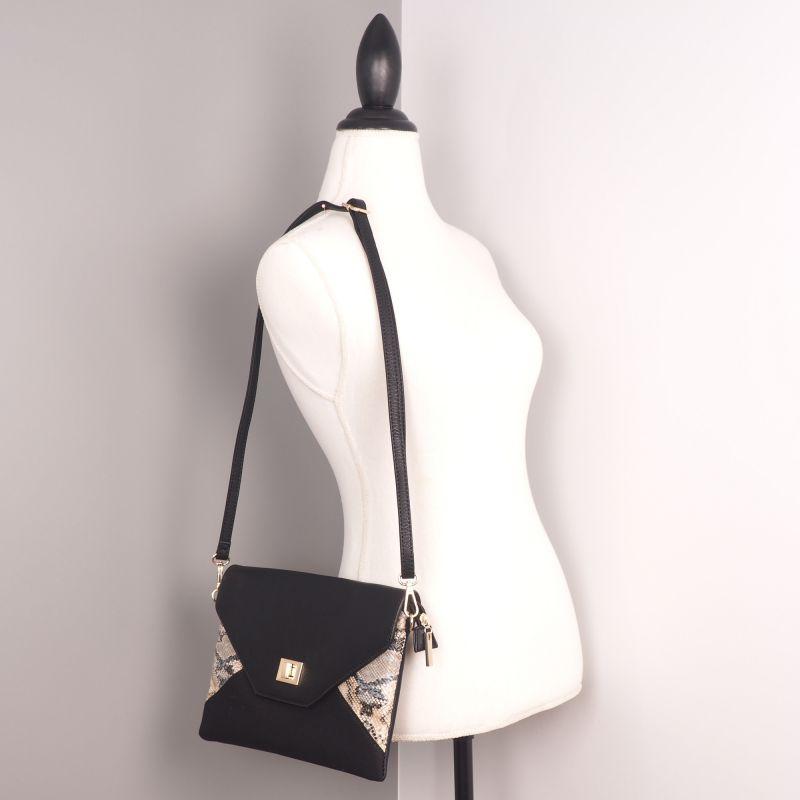 Sac main bandouli re noir reptile sac pochette - Pochette pour mettre dans sac a main ...