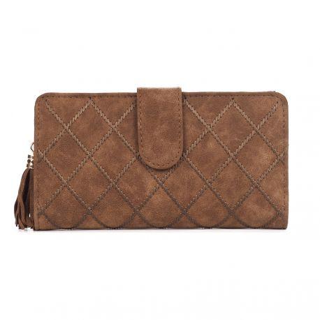 Portefeuille femme marron brodé - Porte monnaie pratique, tendance