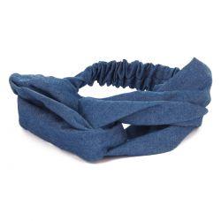 Bandeau cheveux turban jean bleu