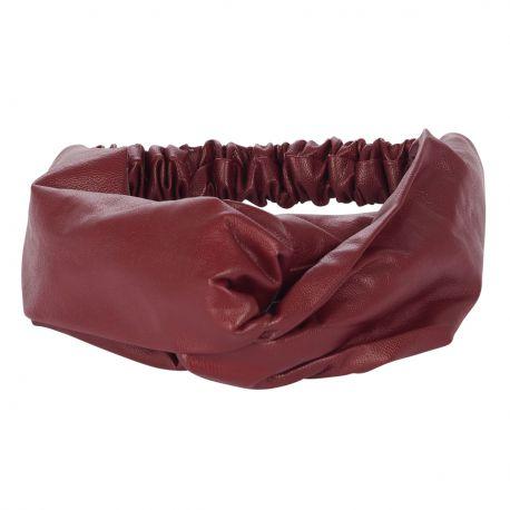 Bandeau cheveux - Bandeau turban simili cuir bordeaux