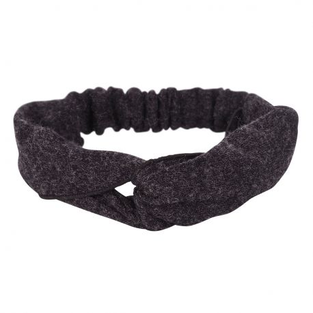 Bandeau cheveux - Bandeau turban laine gris chiné