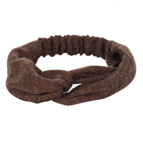 Bandeau cheveux - Bandeau turban laine marron