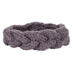 Bandeau tricot - Bandeau torsadé maille gris