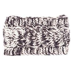 Bandeau tricot - Bandeau large maille chinée blanc et gris